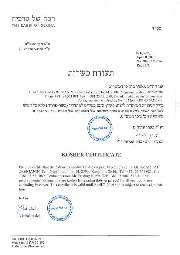 Kosher sertifikat