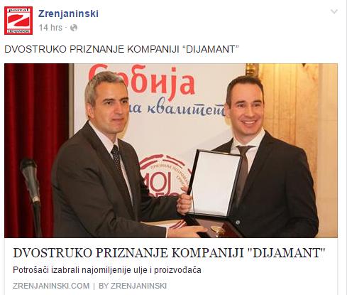 """Zrenjaninski – Dvostruko priznanje """"Moj Izbor 2016"""" za kompaniju Dijamant"""