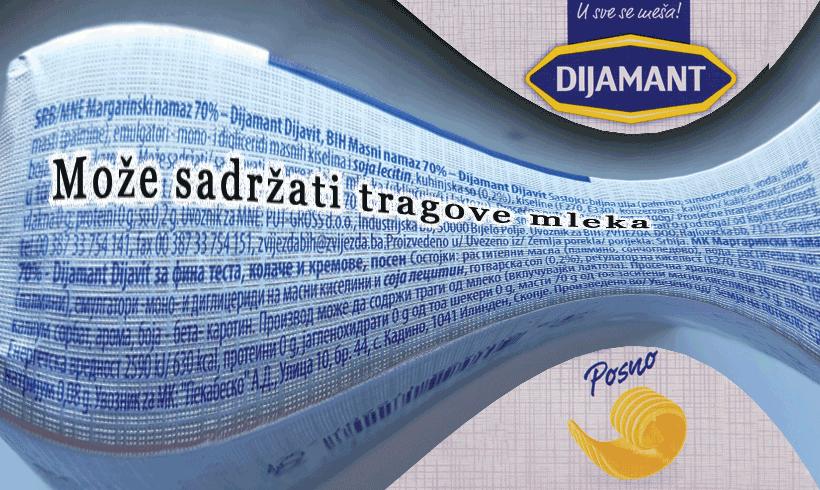 Kako posni margarin, a sadrži tragove mleka?