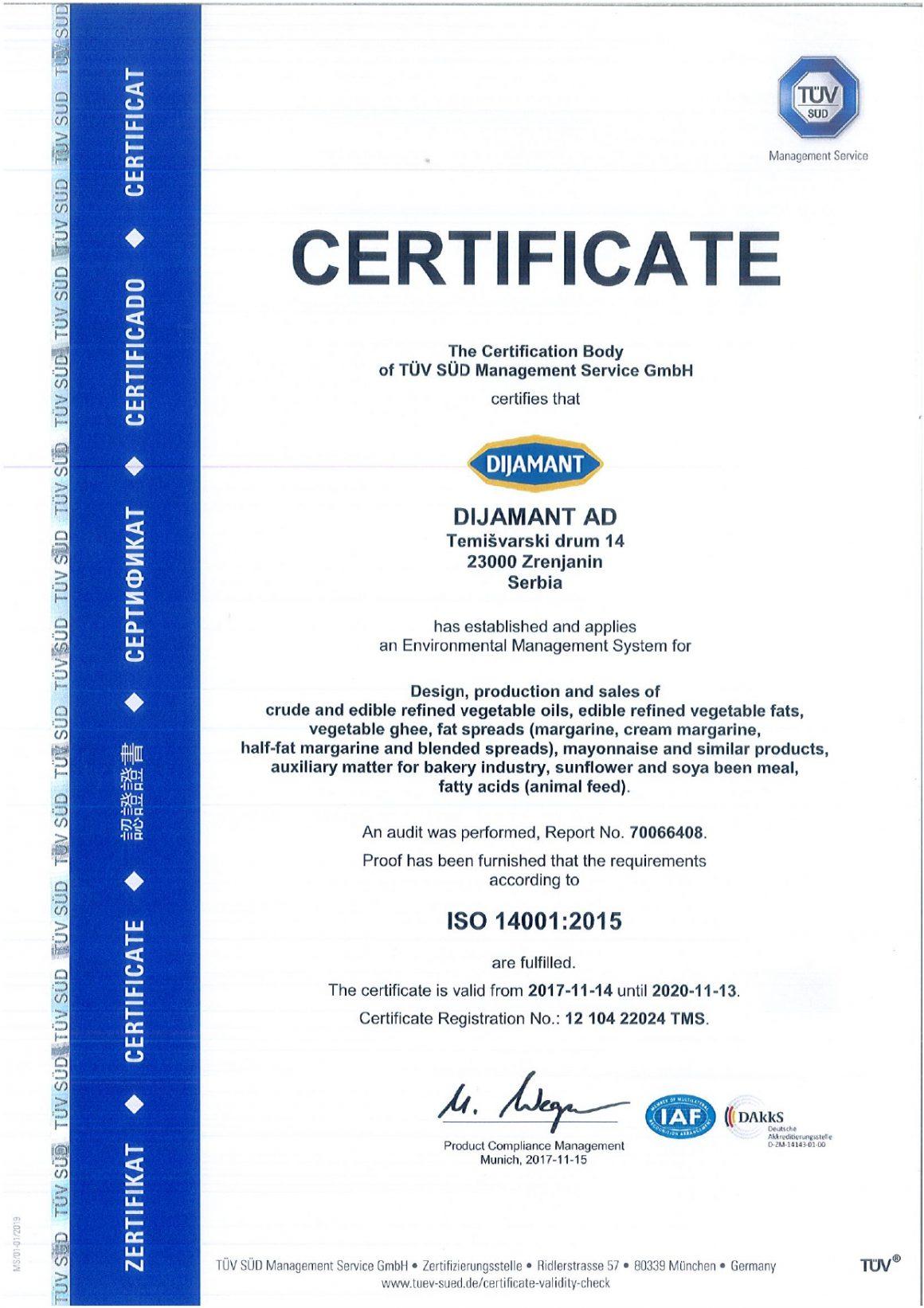 ISO 14001 engleski 2019